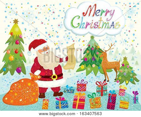 Santa Claus with gifts on snowy background and decorated Christmas tree