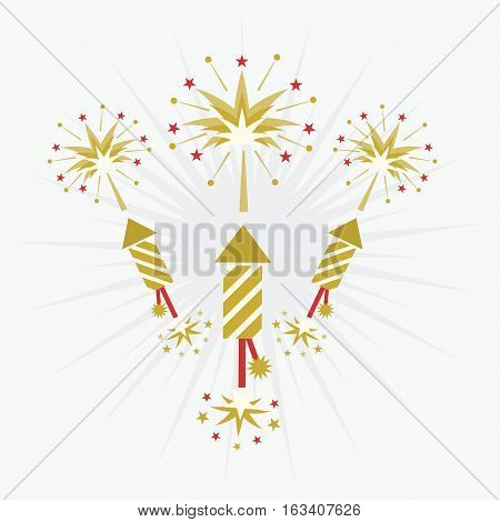 Abstract golden and red rocket firework and blasts on off white background