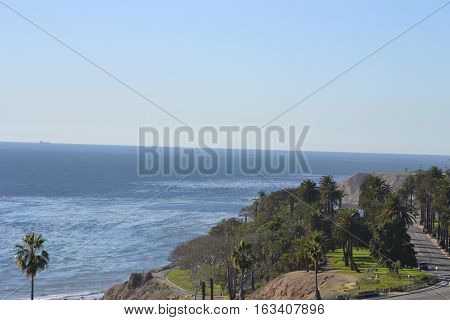 Southern California coastline taken in San Pedro  with Pacific Coast Highway (PCH) running North to South