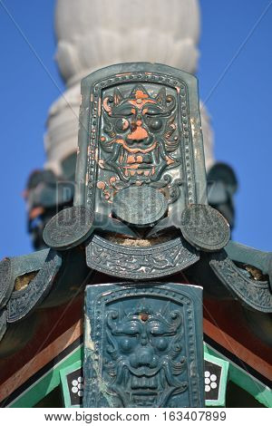 Intricate Korean Design on the pavilion covering the Korean friendship bell in San Pedro California