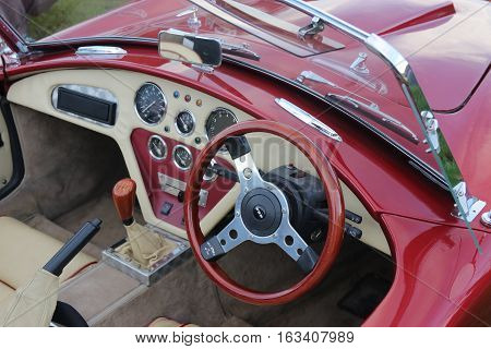 26TH DECEMBER 2016,WICKHAM,HANTS: The interior of an old retro classic car at a show in wickham, england on the 26th