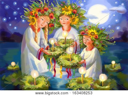 Summer solstice. Midsummer Day. Ivan Kupala. Pagan holiday. Hand-drawing