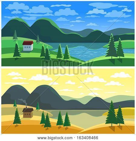 Mountain valley landscape in two seasons. Summer autumn lake and field scenic view. House on river bank in green wood. Freehand cartoon outdoors retro style. Vector countryside scene banner background