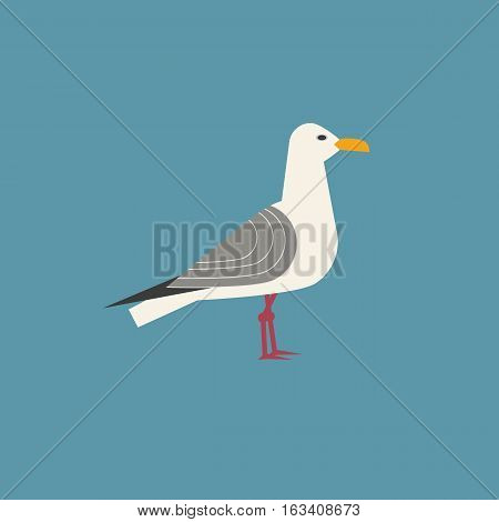 Sea gull icon. Freehand cartoon style. Seagull bird logo. Seabird marine symbol isolated. Stylized nautical animal emblem. Element for project banner background. Vector design of advertisement label