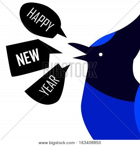 Happy New Year card with Blue Jay. Flat design. Vector