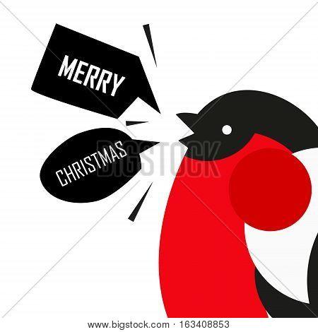 Merry Christmas card with bullfinch. Flat design. Vector