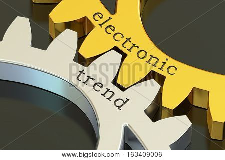 Electronic Trend concept on the gearwheels 3D rendering