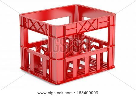 empty red plastic storage box crate for bottles. 3D rendering isolated on white background