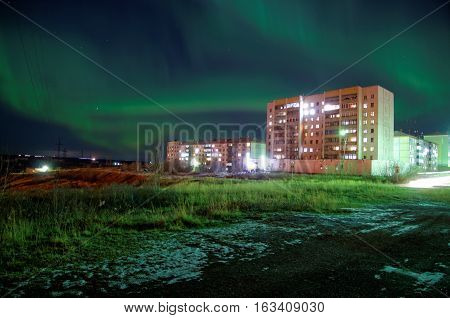 Northern Lights in Artic. Vorkuta, north of Russian Federation