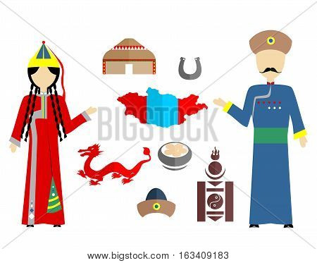 set in the style of a flat design on the theme of Mongolia.