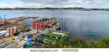 Red shed on a dock & garden boxes along Twillingate village shoreline.  View across the water to town along the road and shoreline in a small community in Newfoundland, Canada.