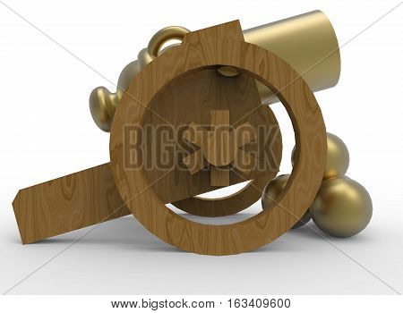 3d illustration of golden toy cannon. white background isolated. icon for game web.