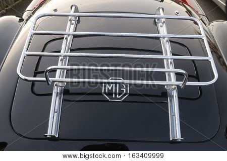 26TH DECEMBER 2016,WICKHAM,HANTS: An old retro MG classic car with a quality luggage rack at a show in wickham, england on the 26th december 2016