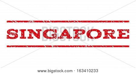 Singapore watermark stamp. Text tag between horizontal parallel lines with grunge design style. Rubber seal stamp with unclean texture. Vector intensive red color ink imprint on a white background.