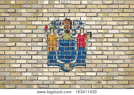 Flag of New Jersey on a brick wall with effect - Illustration,  The flag of the state of New Jersey on brick background,  New Jersey flag in brick style