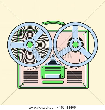 Obsolete tape recorder with two bobbins. Vector lineart illustration
