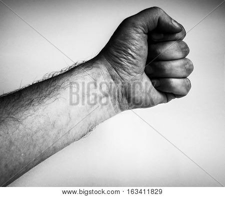 dirty fist , isolated on the grey background