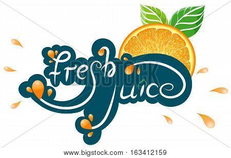 Fresh Juice Orange Sticker, Badge, Vector Illustration EPS10