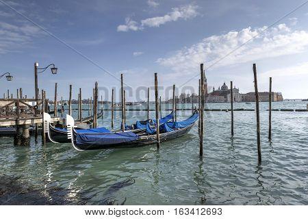Gondolas in Venice and San Giorgio Maggiore island