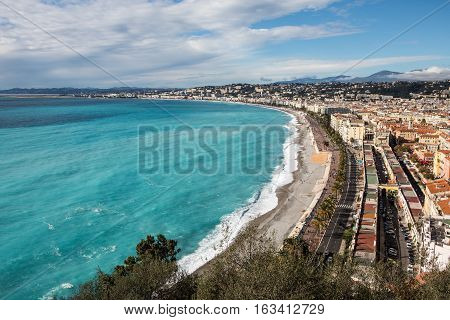 He Seafront Of Nice With Promenade Des Anglais Along The Baie Des Anges