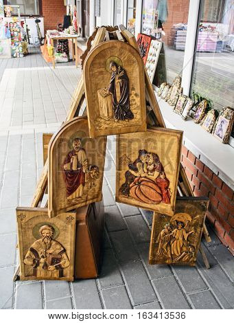 Zrenjanin, Serbia, December 17, 2016. The street sales exhibition carving wooden image.