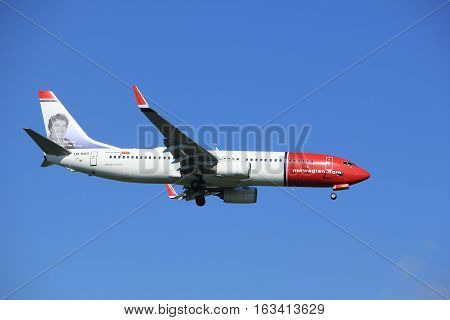 Amsterdam the Netherlands - June 24th 2016: LN-NGD Norwegian Air Shuttle Boeing 737 approaching Polderbaan runway Amsterdam Schiphol arriving from Copenhagen Danmark