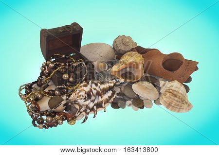 Pirates' treasures. Treasures from the seabed photo.