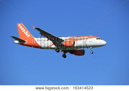 Amsterdam the Netherlands - June 24th 2016: G-EZDM easyJet Airbus A319-111 approaching Polderbaan runway Amsterdam Schiphol arriving from London United Kingdom