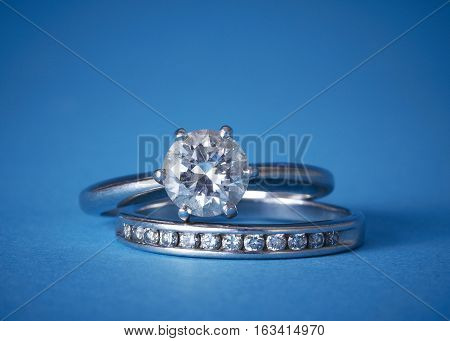 Diamond wedding band and engagement ring set