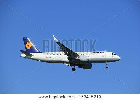 Amsterdam the Netherlands - June 24th 2016: D-AIZW Lufthansa Airbus A320-214 approaching Polderbaan runway Amsterdam Schiphol arriving from Frankfurt Germany