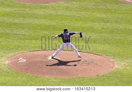 Minneapolis, MN - September 15, 2012: Brian Duensing pitches during a Minnesota Twins game at Target Field.