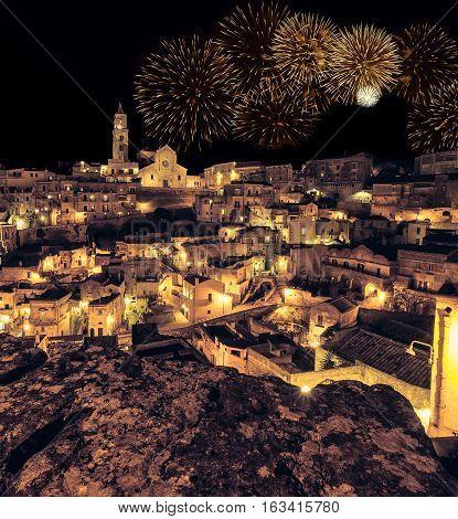 Panoramic View Of Typical Stones (sassi Di Matera) And Church Of Matera At Night