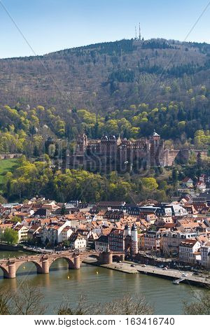 HEIDELBERG, GERMANY - MAR 29, 2014: Panoramic view on the medieval castle of Heidelberg in Spring, Southern Germany.