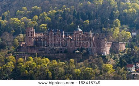 HEIDELBERG, GERMANY - MAR 29, 2014: Incredible view on the medieval castle of Heidelberg in Spring, Southern Germany.
