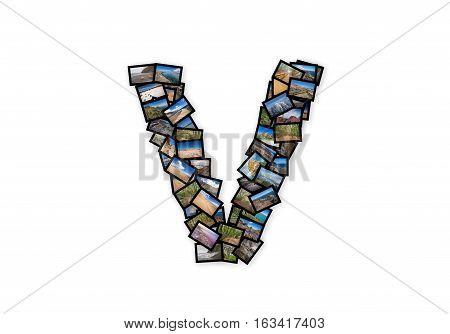 Letter V uppercase font shape alphabet collage made of my best landscape photographs. Version 2.