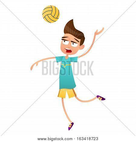 Cute teen boy volleyball player jumping. flat vector