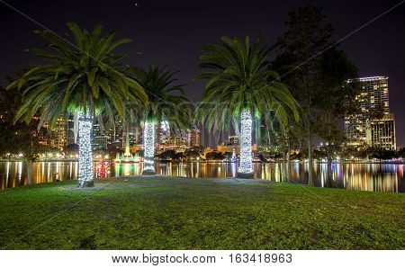 Orlando, Florida, USA, downtown city skyline from Eola Park