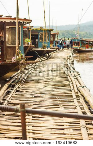 Bamboo buoyancy floating in the river north Laos.