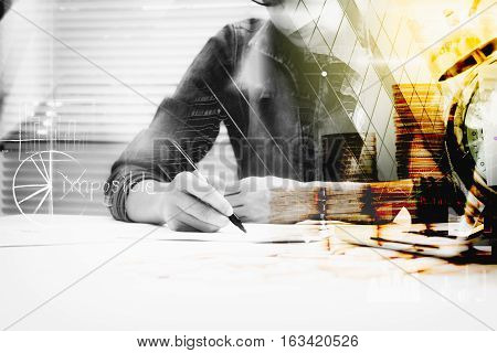 Double Exposure Of Businesswoman Prepare And Writing For Documents And Graph Business Diagram, Film