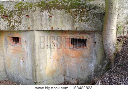 loopholes in the old devastated concrete bunker