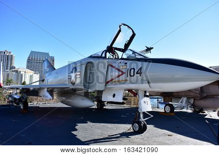 San Diego, California - Usa - Dec 04,2016 - Navy Jet Aircraft In Uss Midway Museum