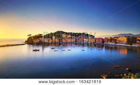 Sestri Levante silence bay or Baia del Silenzio sea harbor and beach view on sunset. Liguria Italy. Long Exposure