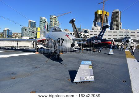 San Diego, California - Usa - Dec 04,2016 - Aircraft F9P 8P Cougar In Uss Midway Museum