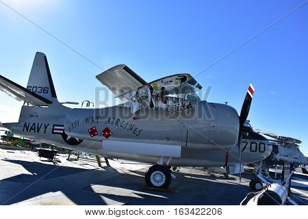 San Diego, California - Usa - Dec 04,2016 - East Way Airlines Uss Midway Museum