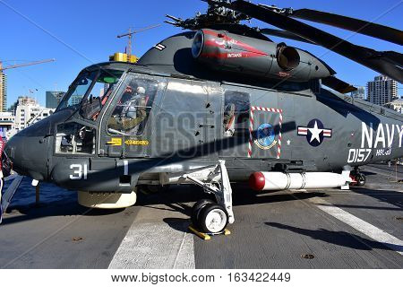 San Diego, California - Usa - Dec 04,2016 - Helicopter In Uss Midway Museum