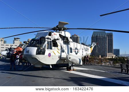San Diego, California - Usa - Dec 04,2016 - Navy Helicopter 66 Uss Midway Museum