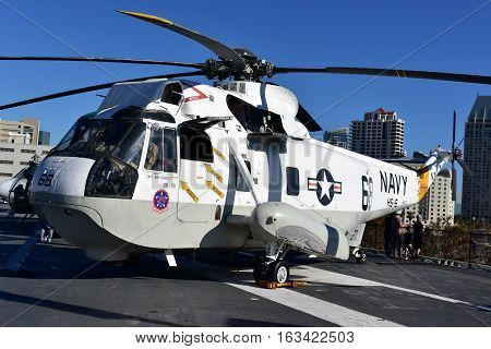 San Diego, California - Usa - Dec 04,2016 - Navy Helicopter 66  Uss Museum