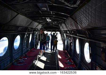 San Diego, California - Usa - Dec 04,2016 - Navy Helicopter 46  Inside