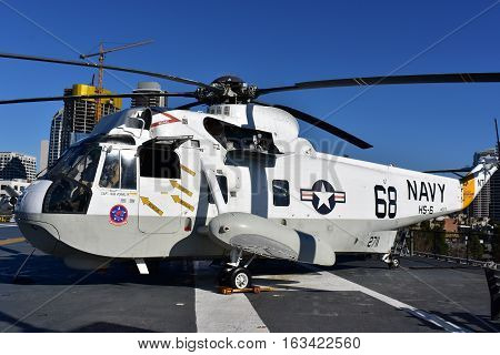 San Diego, California - Usa - Dec 04,2016 - Navy Helicopter 68  Uss  Museum