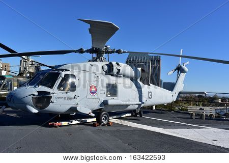 San Diego, California - Usa - Dec 04,2016 - Navy Helicopter H-60 Seahawk  Midway Museum